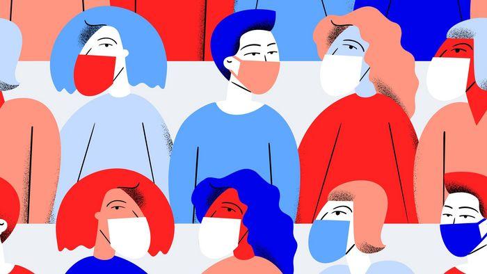 Illustration, viele Personen mit Mundschutz sind abgebildet. Es sind nur die Oberkörper zu sehen. Es wurden nur die Farben Rot, Weiß und Blau verwendet.