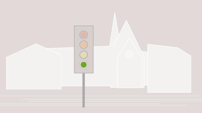 Grafik mit einem der Silhouette der Universität, eine Ampel steht davor, sie leuchtet grün.