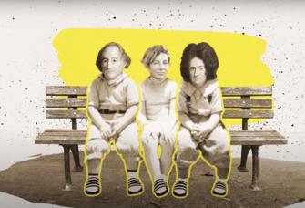 Illustration: drei Jura-Absolventen sitzen auf einer Bank