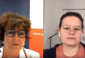 Medizin-Studentin Katharina Freitag (rechts) im Gespräch mit Dr. Christiane Kling-Mathey vom Wissenschaftsrat.