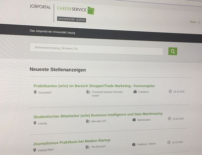 Screenshot des Online-Jobportals des Career Service