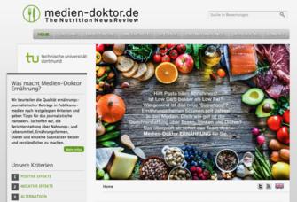 Die Homepage des gerade gestarteten Projekts Medien-Doktor ERNÄHRUNG.