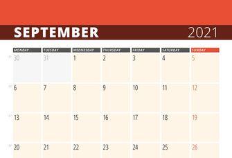 Auf dem Bild ist ein Kalenderblatt vom September 2021 zu sehen.