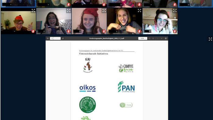 Das Bild zeigt einen Screenshot der virtuellen Tagung der AG Nachhaltigkeit.