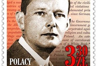 Die Briefmarke mit dem Portrait von Edward Raczyński.