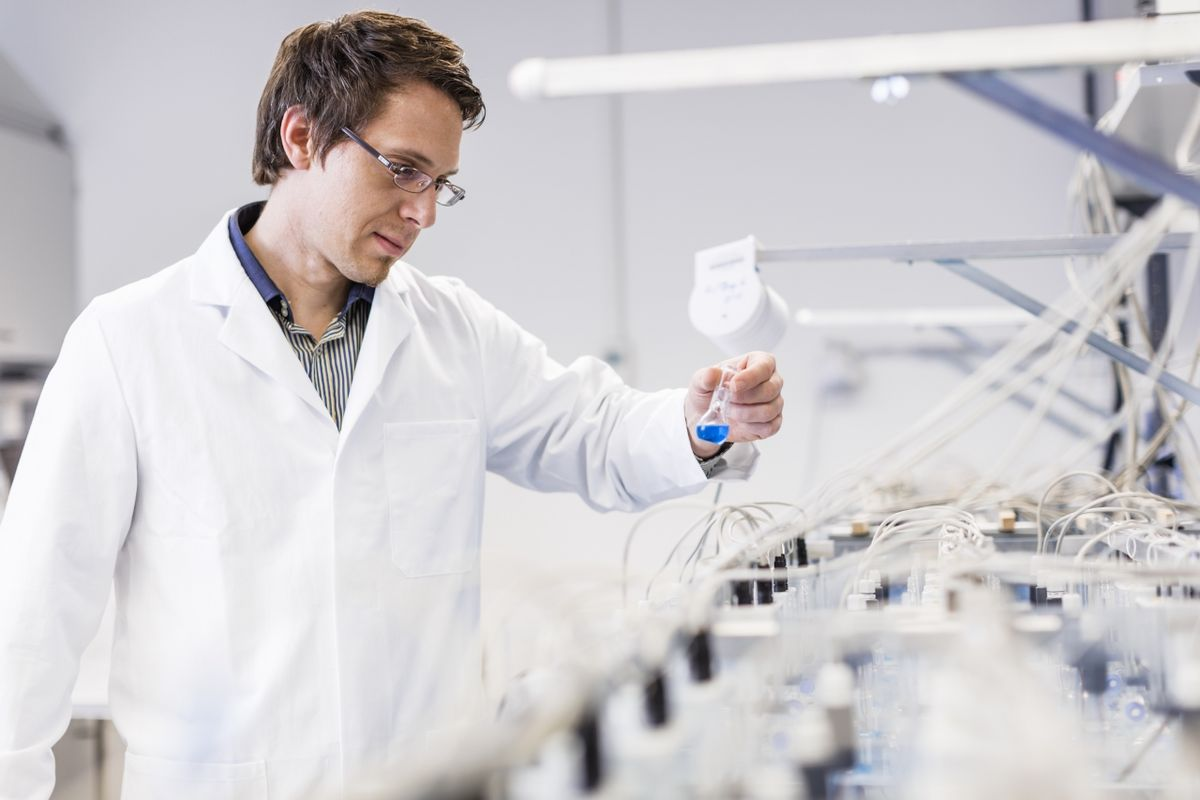 Professor Nico Eisenhaier (iDiv) at work in the lab.