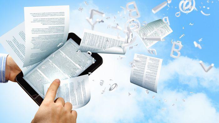 Sujet-Bild: aus einem Tablet flattern Dokumente