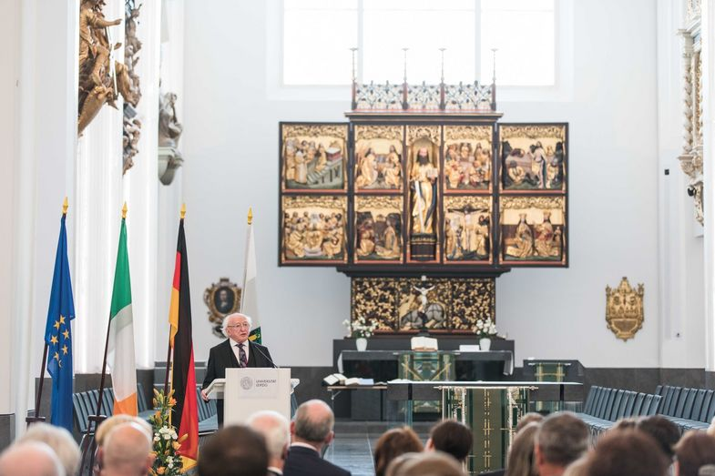 President Higgins gave a speech in the Paulinum on the future of Europe.