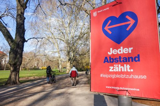 Poster in a public park in Leipzig, March 2020. Photo: iDiv / Gabriele Rada