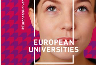 Webversion eines Plakats: Frauenporträt und darauf der Schriftzug European Universitäres.